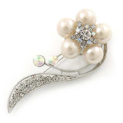 Oversized Stunning  Flower Imitation Pearl Crystal Pin Brooch (Silver&Snow White)
