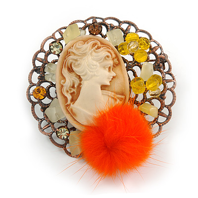 Cameo Orange Feather Brooch in Bronze Tone Frame - 55mm Tall - main view
