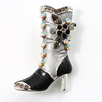 Charcoal Crystal High Boot Pin Brooch