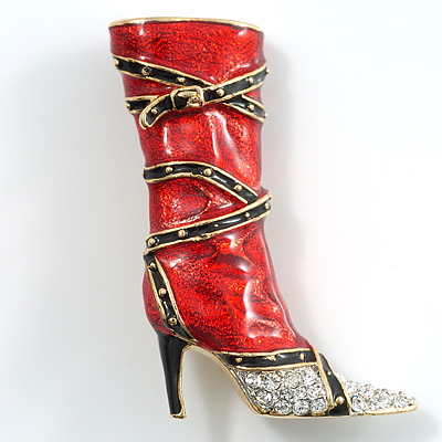 Hot-Red Stiletto High Boot Pin Brooch