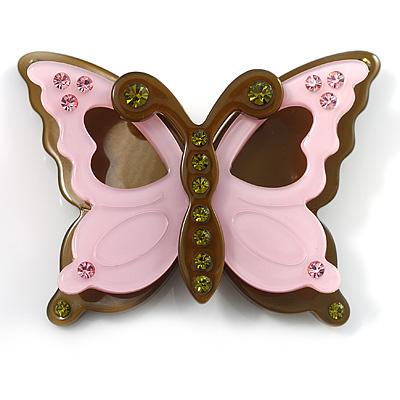 Pretty Crystal Plastic Butterfly Brooch