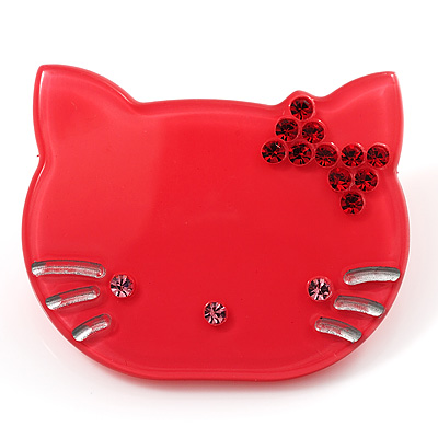 Little Kitty Plastic Brooch (Pink)