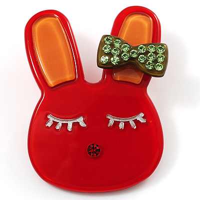 Cute Red Plastic Bunny Brooch With Crystal Bow