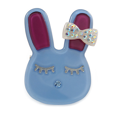 Cute Light Blue Plastic Bunny Brooch With Crystal Bow