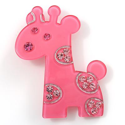 Crystal Pink Baby Giraffe Plastic Brooch - main view