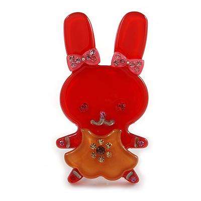 Pretty Red Bunny Girl Plastic Brooch