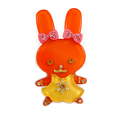 Pretty Orange Bunny Girl Plastic Brooch - main view
