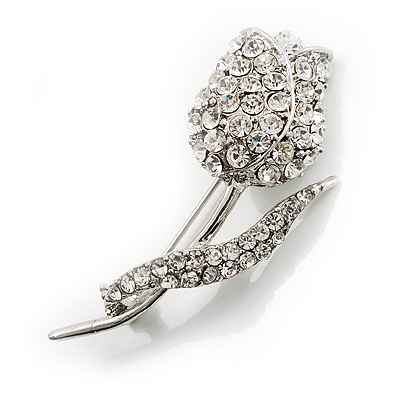 Clear Crystal Tulip Brooch - main view