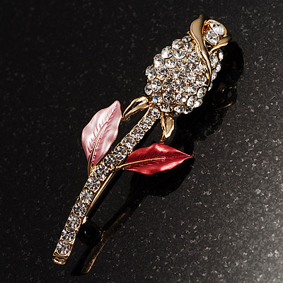Clear Crystal Rose Brooch - main view