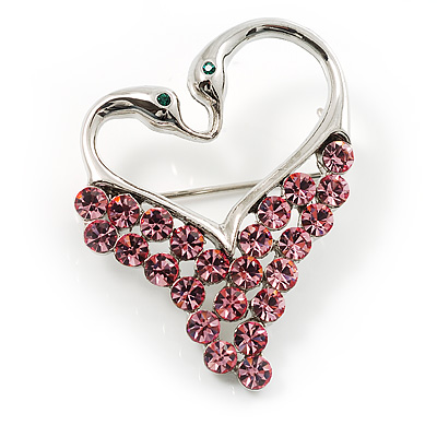 Swan Heart Crystal Brooch (Fuchsia) - main view