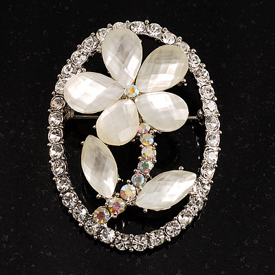 Daisy In The Oval Frame Crystal Brooch