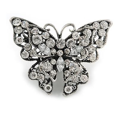 Clear Crystal Filigree Butterfly Brooch
