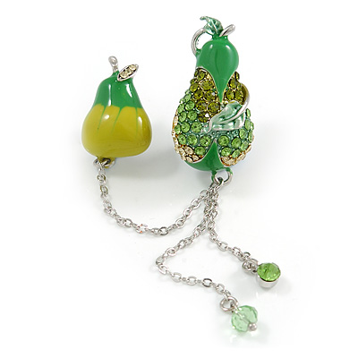 Green Crystal Enamel Pear Brooch