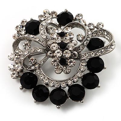 Striking Diamante Corsage Brooch (Black&Clear) - main view