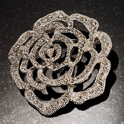 Oversized Clear Crystal Rose Brooch