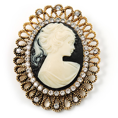Vintage Antique Gold Cameo Crystal Brooch