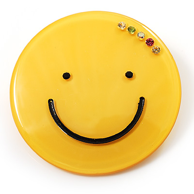 Yellow Plastic Smiling Face Brooch - main view