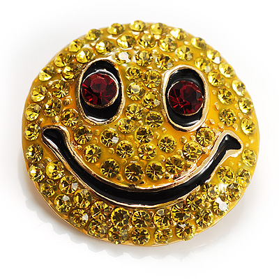 Round Yellow Crystal Smiling Face Brooch - main view