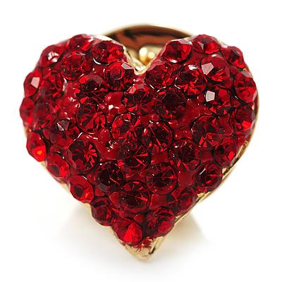 Tiny Crystal Heart Pin (Red) - main view