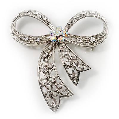Victorian Crystal Filigree Bow Brooch