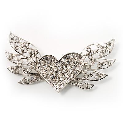 Heart & Wings Clear Crystal Fashion Brooch