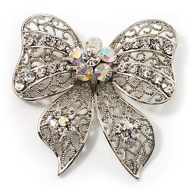 Large Crystal Filigree Bow Brooch