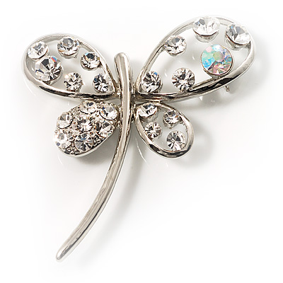 Stylish Crystal Butterfly Brooch - main view