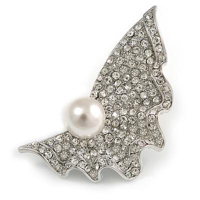 Crystal Shell Faux Pearl Fashion Brooch - main view