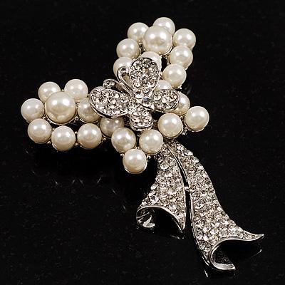 Elegant Imitation Pearl Crystal Butterfly Brooch - main view
