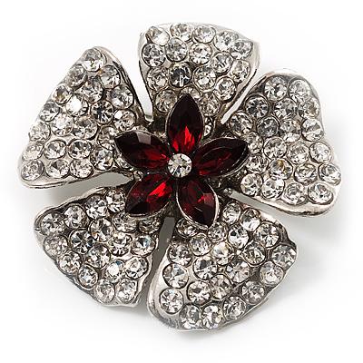5 Petal Crystal Flower Brooch (Red&Clear) - main view