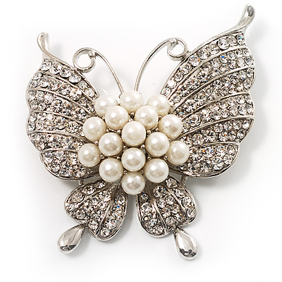 Exquisite Imitation Pearl Crystal Butterfly Brooch - main view