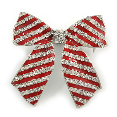 Large Enamel Crystal Bow Brooch (Red)