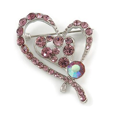 Lilac Crystal Heart Brooch