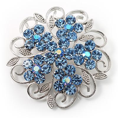 Sky Blue Crystal Filigree Floral Brooch
