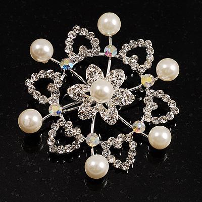Rhodium Plated Faux Pearl Crystal Snowflake Brooch - main view