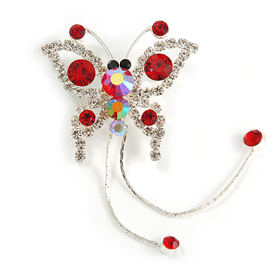 Red Crystal Butterfly With Dangling Tail Brooch - main view