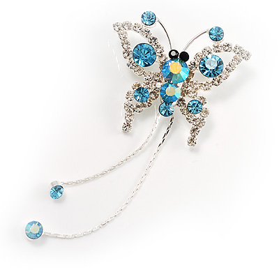 Blue Crystal Butterfly With Dangling Tail Brooch - main view