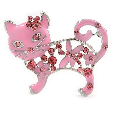 Pink Crystal Enamel Cat Brooch - main view