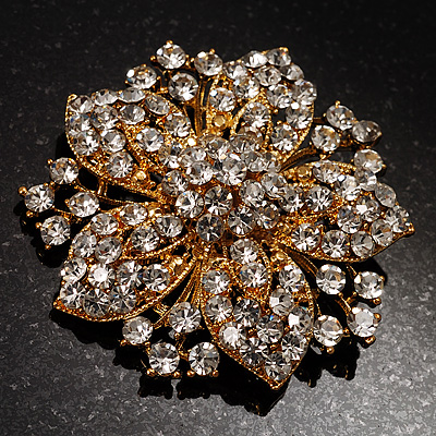 Victorian Corsage Flower Brooch (Clear) - main view