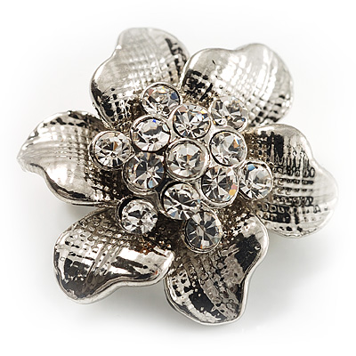 Tiny Crystal Flower Pin Brooch