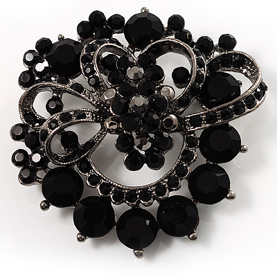 Striking Diamante Corsage Brooch (Jet Black)