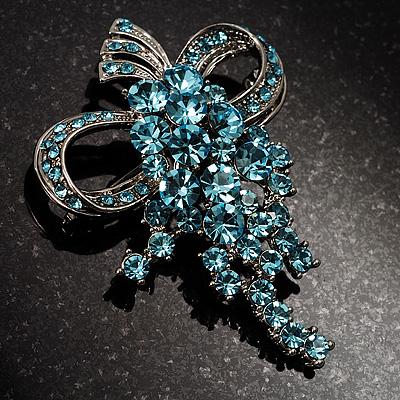 Light Blue Crystal Grapes Brooch