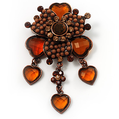 Grandma's Heirloom Charm Brooch (Brown, Amber Coloured)