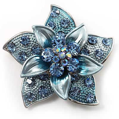 3D Enamel Crystal Flower Brooch (Blue&Sky Blue) - main view