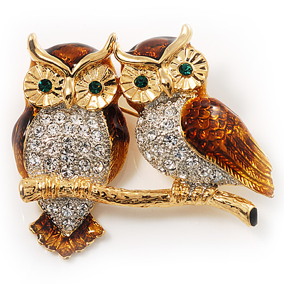 Two Gold Crystal Sitting Owls Brooch - 35mm