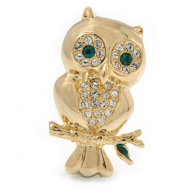 Gold Tone Crystal Owl Brooch - main view
