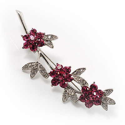 Rhodium Plated Fuchsia Diamante Flower Bouquet Brooch