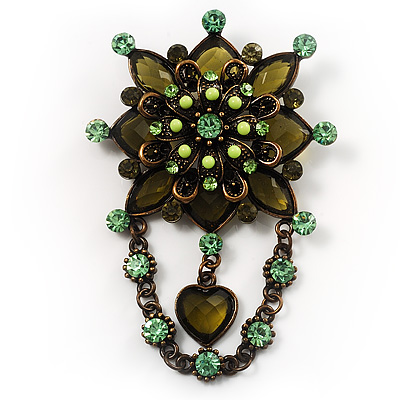 Vintage Statement Charm Brooch (Olive Green) - main view