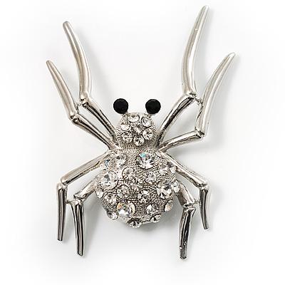 Giant Crystal Spider Fashion Brooch