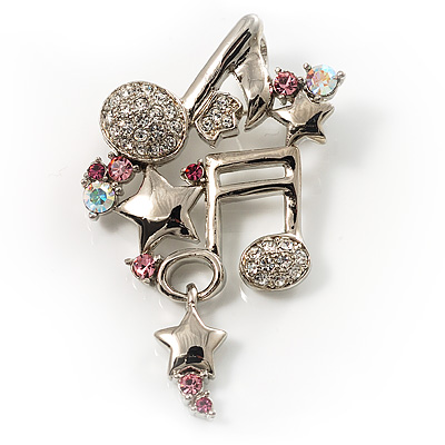 Musical Notes&Stars Crystal Brooch